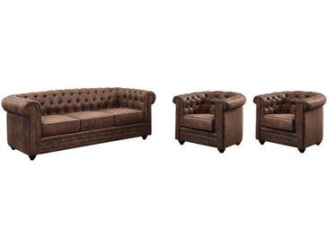 Canapé 3 places et 2 fauteuils CHESTERFIELD en microfibre aspect cuir vieilli
