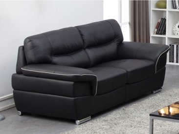 Canapé 2 places en cuir THIBAULT - Noir