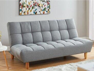 Canapé 3 places clic clac en tissu ESTEBAN - Gris