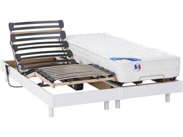 Lit électrique relaxation matelas ressorts ensachés et mémoire forme APOLLO de DREAMEA - blanc - 2 x 80 x 200 cm