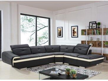 Canapé d'angle en cuir de buffle LOMANDE - Noir - Angle droit