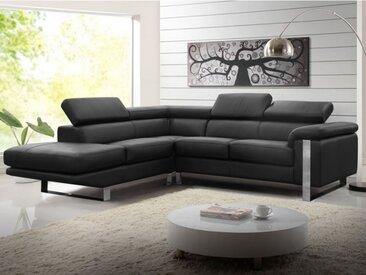 Canapé d'angle en cuir MYSTIQUE - Noir - Angle gauche