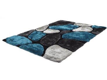Tapis shaggy PIETRA turquoise et gris - polyester - 160*230cm