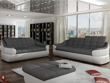 Canapé 3+2 places en tissu et simili FAREZ - Bicolore gris et blanc