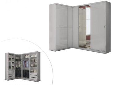 Armoire/dressing d'angle OLOF avec miroir - 6 portes - Blanc