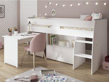 Lit combiné MARCELLE - Avec Bureau et rangements - 90x200 cm - Blanc