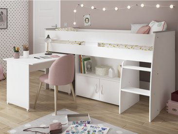 Lit combiné MARCELLE - Avec Bureau et rangements - 90 x 200 cm - Blanc