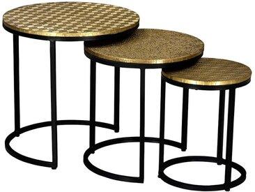 Tables basses gigognes BELAMI - Motifs Sculptés - Métal -  Coloris : Doré et pieds noirs
