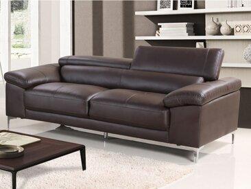 Canapé 3 places en cuir SOLANGE - Marron