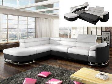 Canapé d'angle convertible en simili MYSEN - Blanc et noir - Angle gauche