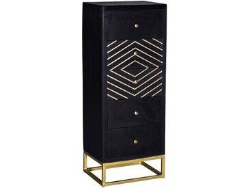 Chiffonnier art déco PRISMIN - 5 tiroirs - Bois de manguier et métal - Noir et doré