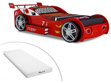 Lit voiture RUNNER avec tiroir - 90x200 cm - Rouge + matelas STELO KIDS 90x200