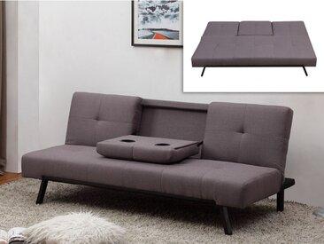 Canapé clic-clac en tissu PRAGUE avec dossier central rabattable - Gris