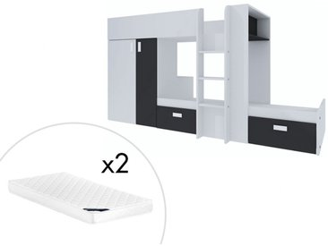 Lits superposés JULIEN - 2x90x190cm - Armoire intégrée - Pin blanc et noir + matelas