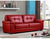 Canapé 3 places en cuir HAZEL - Rouge