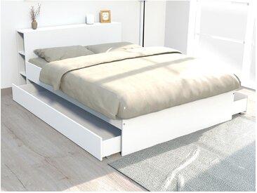 Lit EUGENE avec tête de lit rangements et tiroirs - 160 x 200 cm - Blanc