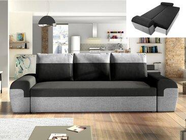 Canapé 3 places convertible GABY en tissu - Bicolore noir et gris clair