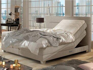 Ensemble boxspring complet tête de lit relevable + sommiers + matelas + surmatelas PRIVILEGE de DREAMEA - Tissu beige - 2x80x200cm