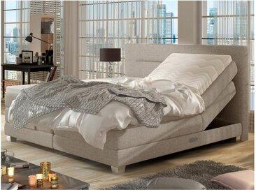 Ensemble boxspring complet tête de lit relevable + sommiers + matelas + surmatelas PRIVILEGE de DREAMEA - Tissu beige - 2 x 80 x 200 cm