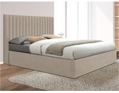 Lit coffre avec tête de lit coutures verticales SARAH - 140x190cm - Tissu - Beige
