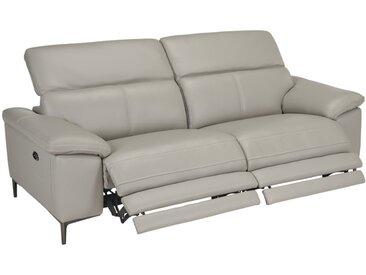 Canapé 3 places relax électrique en cuir YORO - Gris