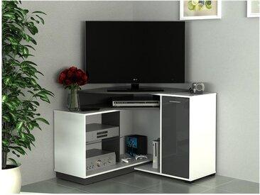 Meuble TV d'angle AMAEL avec rangements - Coloris Blanc & anthracite