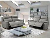 Canapé 3+2 places relax électrique PAOSA en cuir - Gris passepoil anthracite