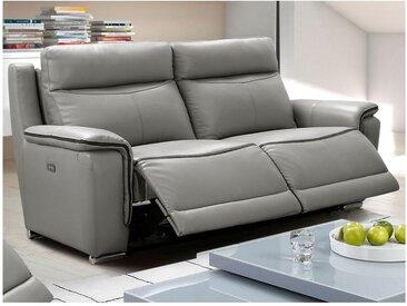 Canapé 3 places relax électrique PAOSA en cuir - Gris passepoil anthracite