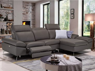 Canapé d'angle relax électrique en cuir de buffle MARSALA - Anthracite - Angle droit