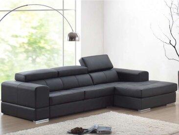 Canapé d'angle cuir XXL BALDINI II - Noir - Angle droit