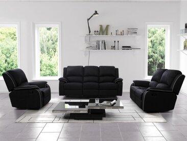 Canapé 3+2+1 places relax en microfibre HERNANI - Noir
