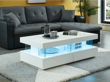 Table basse FABIO - MDF laqué blanc - LEDs - 2 tiroirs & 2 niches