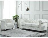Canapé 3 places en cuir de buffle CHESTERFIELD - Blanc