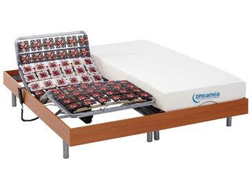 Ensemble relaxation tout plots mémoire de forme HESIODE III de DREAMEA - moteurs OKIN - merisier - 2x90x200cm