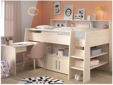 Lit combiné APOLINE - Avec Bureau et rangements - 90 x 200 cm - Coloris : Chêne