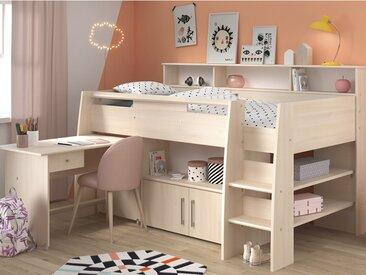 Lit combiné APOLINE - Avec Bureau et rangements - 90x200 cm - Coloris : Chêne