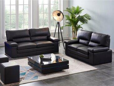 Canapé 3+2 places en cuir de buffle MIMAS noir