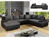 Canapé d'angle panoramique convertible et réversible en simili et tissu DAKOTA - Bicolore noir et gris