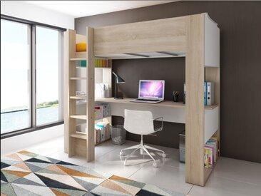 Lit mezzanine NOAH avec bureau et rangements intégrés - 90 x 200 cm - Coloris : Chêne