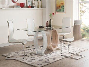 Ensemble table + 4 chaises AYANE - Chêne & Blanc