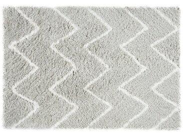 Tapis shaggy DRESDE - polyester - Gris et blanc  - 200 x 290 cm