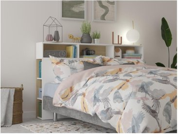 Tête de lit avec rangements NASTIA - 160 cm - Blanc et chêne
