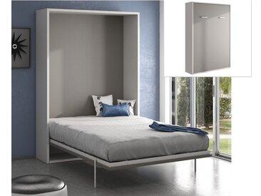 Lit escamotable MALINA ouverture verticale manuelle - 140x200cm - Blanc/gris