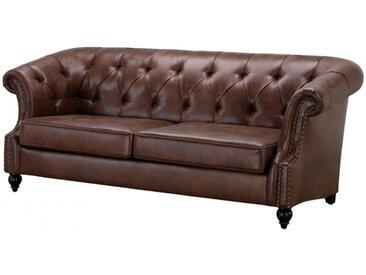 Canapé 3 places Chesterfield AQUITAINE en microfibre aspect cuir vieilli - Chocolat
