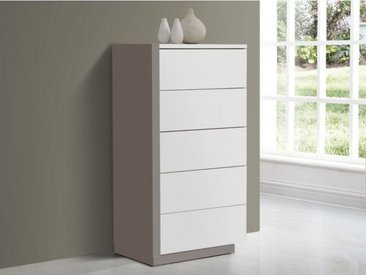 Chiffonnier NAPOLI - 5 tiroirs - Blanc et gris