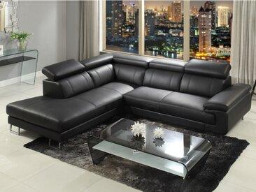Canapé d'angle cuir COLISEE - Noir - Angle gauche