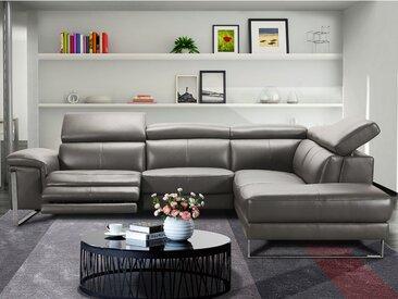 Canapé d'angle relax électrique en cuir RIVAS - Anthracite - Angle droit