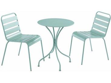 Salle à manger de jardin MIRMANDE en métal - une table D.60 cm et 2 chaises empilables - Vert amande