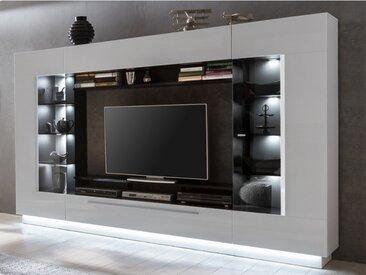 Mur TV BLAKE avec rangements - LEDs - MDF laqué blanc