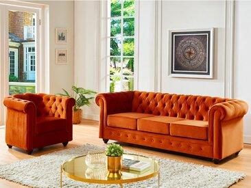 Canapé 3 places et fauteuil CHESTERFIELD - Velours terracotta